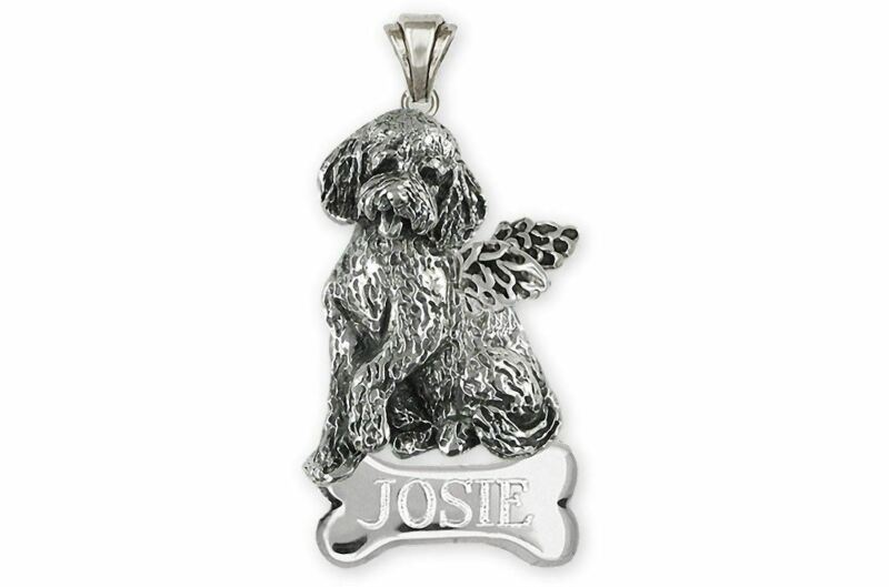 Goldendoodle Angel Jewelry Sterling Silver Handmade Goldendoodle Pendant  GDL10-