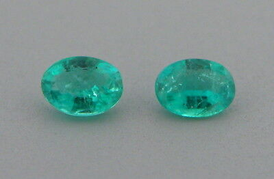 (5x3mm MATCHING PAIR OVAL CUT LOOSE NATURAL GREEN COLOMBIAN EMERALD)