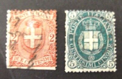 Italy-1896/1897-Two and Five Centesimi issues-Used