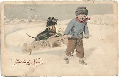 Dogs Buy Pulling a Dachshund on a Wheelbarrow Cute Old Postcard