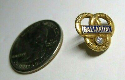 Ballantine Beer 15 Year Service Award metal lapel pin  10K