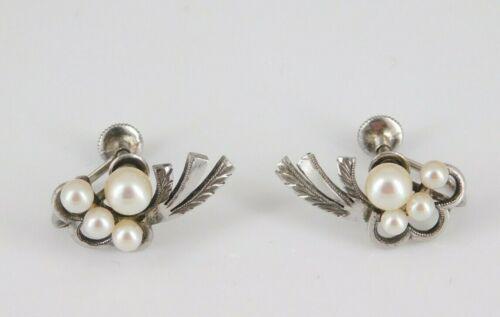 Vintage / Antique Sterling Silver Pearl Screw Back Earrings