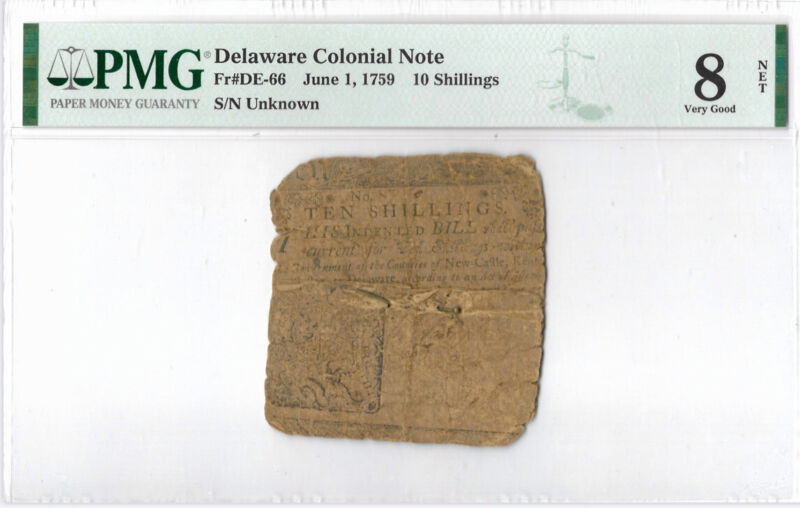 Delaware Colonial Note Fr#DE-66 June 1, 1759 10s PMG 8 *Printed by Ben Franklin