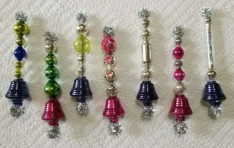 *Cute* 7 Vtg Mercury Glass Bell Garland Icicle Bead Christmas Ornies *Cheerful*