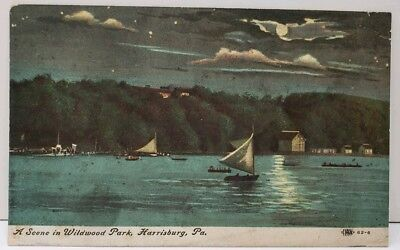 Harrisburg Pa A Scene In Wildwood Park, Sailing By Night, Sailboats Postcard E2