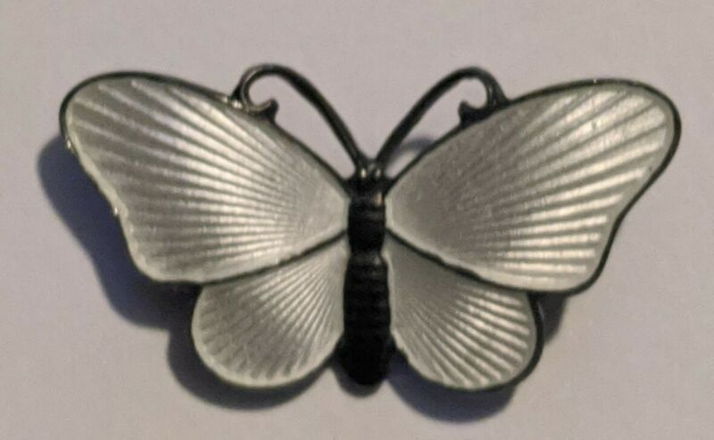Norway Ivar Holth 925S Sterling White Enamel Butterfly Pin Brooch
