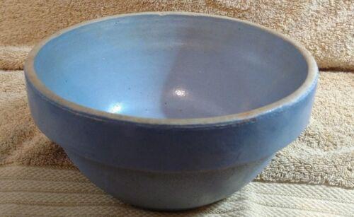 "Primitive Blue Crock Country Farm Stoneware Mixing Bowl 8"" Dia"