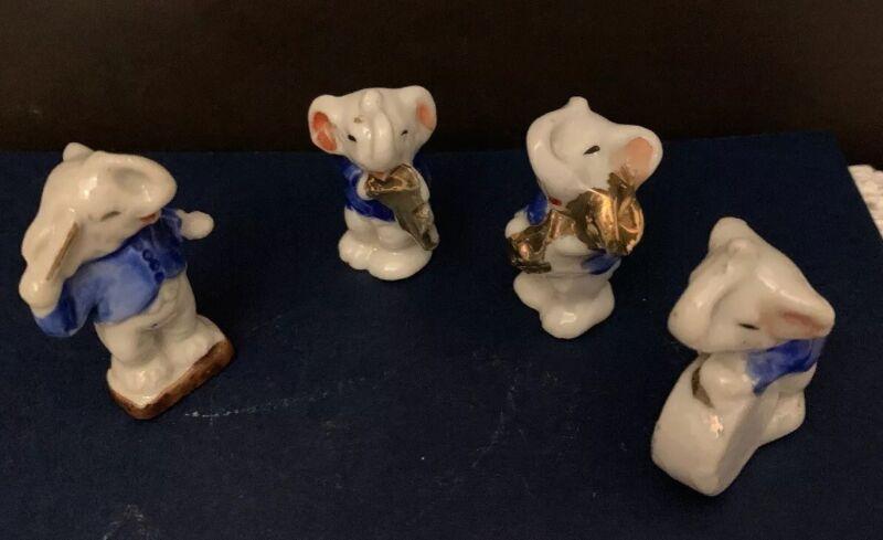 """4 Vintage Elephant Japan figurines  Band Musicians Blue  2"""" Porcelain Trunks up"""