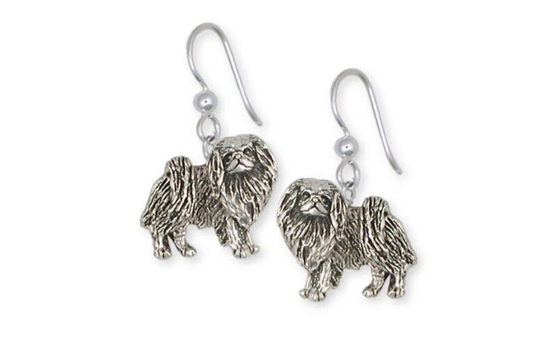 Japanese Chin Earrings Jewelry Sterling Silver Handmade Dog Earrings JC8-E