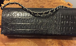 Evening Clutch Purse, Black faux Crocodile skin