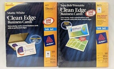 New Lot Of 2 Avery 8875 Clean Edge 500 Count Business Cards Ink Jet Matte White