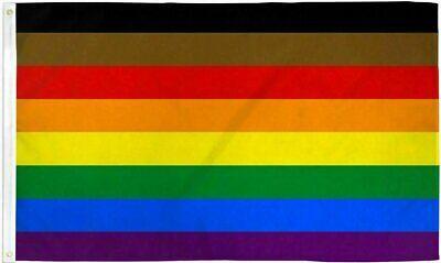 Philly Rainbow Flag 3×5 ft w/ Black & Brown Philadelphia Gay Lesbian LGBTQ Pride Décor