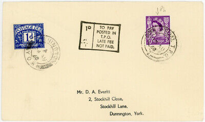1968 RAILWAY TPO DOWN SPECIAL 1d POSTAGE DUE LATE FEE NOT PAID JERSEY 3d