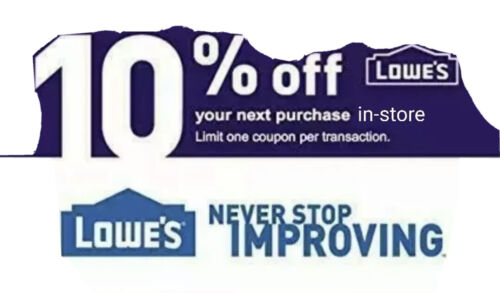 Lowe s 10 Off Coupon ONE 1x - In-Store ONLY - With Barcode. FAST DELIVERY E - $4.00