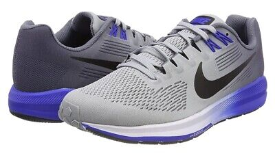 NIKE AIR ZOOM STRUCTURE 21 WOLF GREY/BLUE RUNNING TRAINERS SIZE UK 11.5 EUR 47
