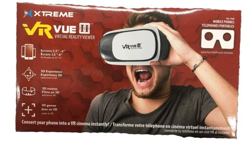 Xtreme VR Vue II Virtual Reality Viewer Glasses Headset, White Black, Adjustable