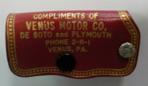 Early Advertising Leather Keychain Venus Motor Co. De Soto & Plymouth Venus, PA.