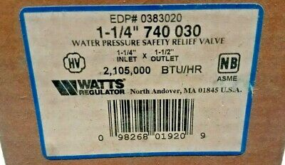 Watts Regulator Edp 0383020 1-14 740 030 Water Pressure Relief Valve-new
