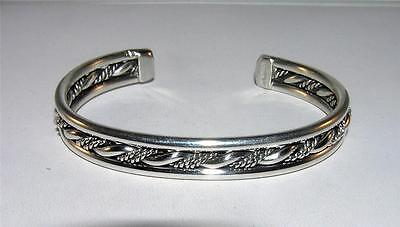 Native American Cuff Bracelet Twisted Center Roping Sterling Silver