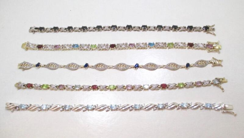 60 GRAM RESALE LOT OF 5 STERLING SILVER GEMSTONE BRACELETS