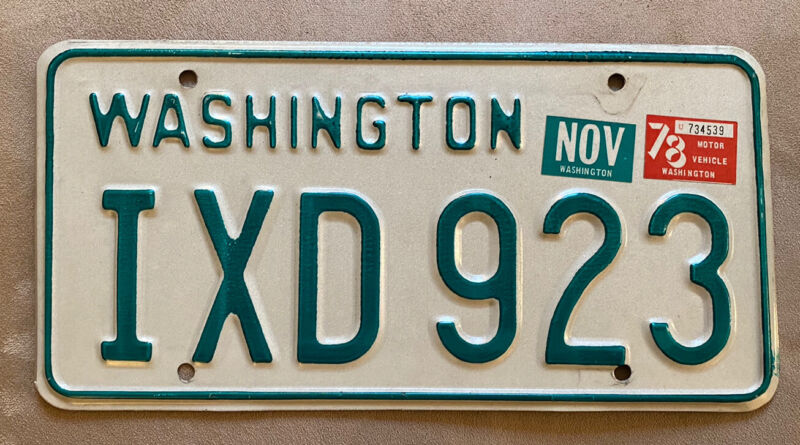Gorgeous Natural 1978 Washington Passenger Vehicle License Plate YOM Legal!
