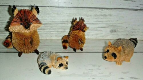 4 Bristle Brush Buri Raccoon Figurine Figures