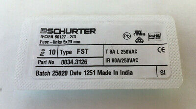 Schaerer Espresso Machines Board Fuse Pn 0034.3120 T 2a L 250v 10 Pisces