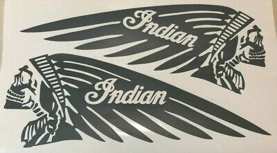 """NEW SKULL Indian 4.5"""" x 12"""" Motorcycle Tank Vinyl GUNMETAL Decal Scout Chief"""