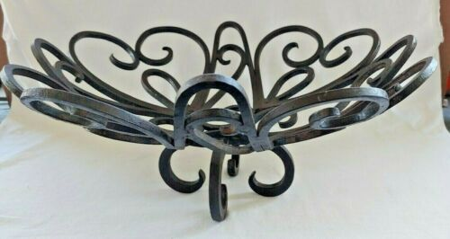 Vintage Mexican Wrought Iron Footed Basket