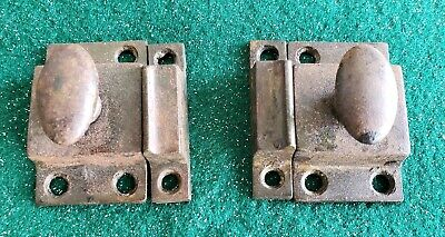PAIR OF HEAVY CAST IRON VINTAGE ANTIQUE CABINET LATCHES 1 1/2
