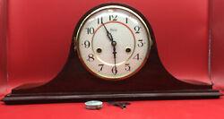 Vintage Germany RIDGEWAY MANTLE CLOCK With Chimes Key And Pendulum, Very Nice