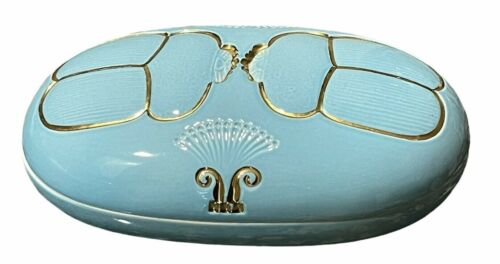 "VTG Scarab Design Gilt & Blue Porcelain Dresser Jewelry Box Art Deco 7.75""x4.75"""