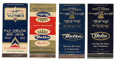 DELTA AIR LINES 4 MATCHBOX LABEL ANNI  '50 AIRWAYS AIRLINES