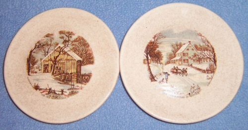2 Currier & Ives mini PLATES cream/brown speckled OLD HOMESTEAD IN WINTER scenes