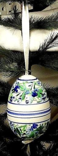 X-Large Hand Painted Goose Egg Blue  Striped Floral Easter Tree Ornament  Poland