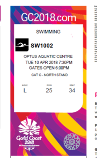 Commonwealth games swimming finals tickets 10th April