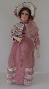 REDUCED Coca-Cola Porcelain Doll - vintage Victorian- with stand