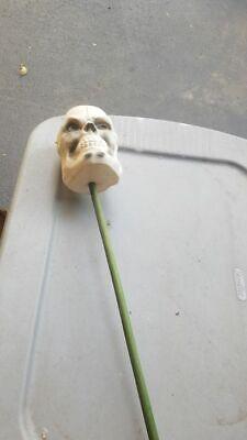 Vintage 1950's Blow Mold Skeleton Skull on Green Walking Stick