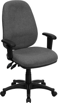 High Back Gray Fabric Ergonomic Computer Chair with Height Adjustable Arms ()
