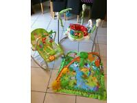 Fisher Price Rainforest bundle with Jumperoo, vibrating rocker and play mat