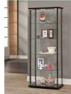 Black Wood Storage - Curio Cabinet Glass Storage Display Shelf Case Corner Wall Shelve Wood Furniture