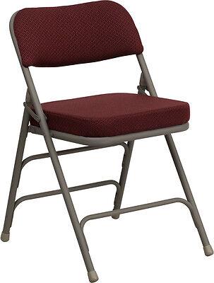 Lot 20 Steel Frame Burgundy Padded Seat Folding Chairs
