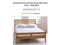 Brand new solid oak bed frame double