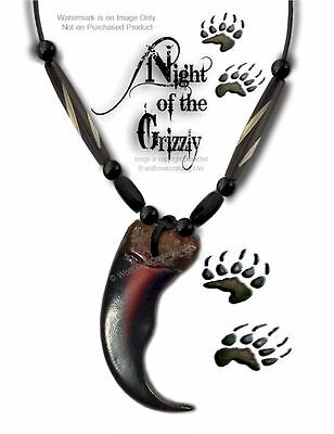 """RUGGED GRIZZLY CLAW NECKLACE 24"""" LEATHER & BEADS BEAR GRIZZLIES - FREE SHIP #G5*"""