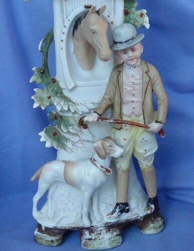 GERMAN SHORTHAIRED POINTER hunting dog man horse Victorian spill vase GERMAN 12""