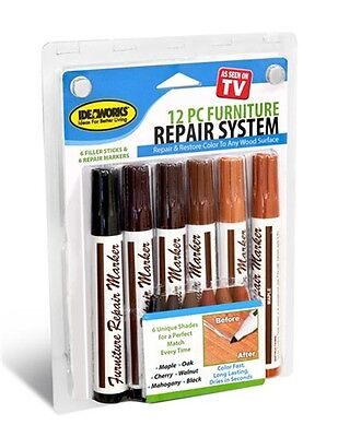 Total Furniture Repair Markers System12 piece Kit Filler Touch-ups Wood Fillers