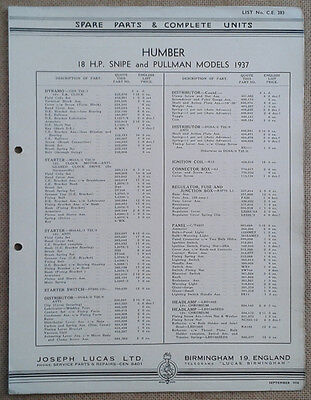 Humber 18hp Snipe and Pullman 1937 models Lucas Parts List 283  Others available