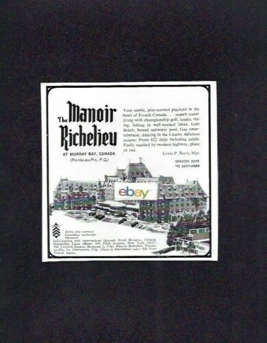 MANOIR RICHELIEU MURRAY BAY QUEBEC CANADA 1966 PINE SCENTED FRENCH CANADA AD