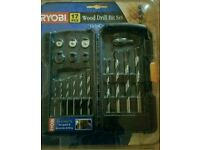 Ryobi 17 piece wood drill bit set with grip case
