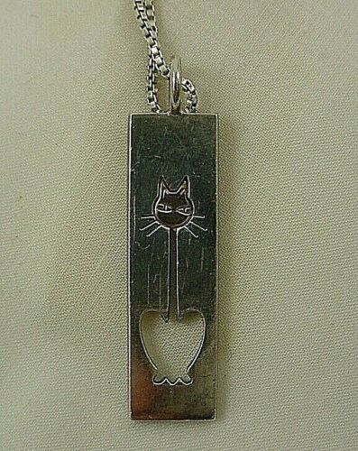 """Vintage Sterling Silver Gold Overlay Cat Pendant Necklace FINLAND 15"""" Long"""